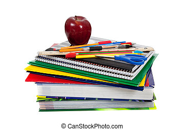 A stack of textbooks with school supplies including an apple, pencils, pens, a ruler, colored pencils, scissors, folders, composition books, spirals and folders on a white background