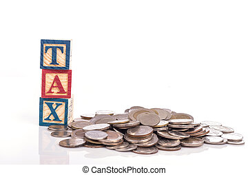 """Stack of Thai coin and """"TAX"""" write in colorful wood alphabet blocks isolated on white"""