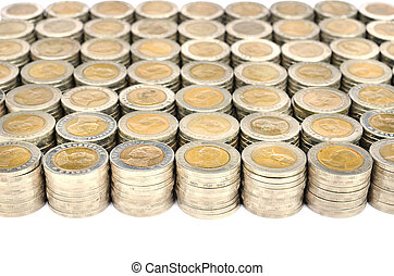 stack of Thai coins baht