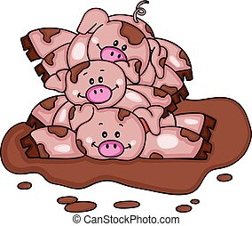 Stack of three piggies in a mud puddle