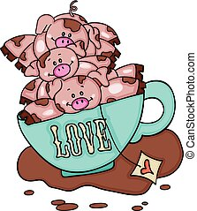 Stack of three piggies in love cup of tea