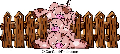 Stack of three piggies with wooden fence