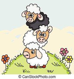 Stack of three sheeps on field illustration