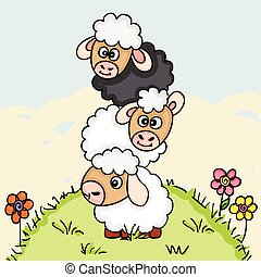 Stack of three sheeps on field illustration