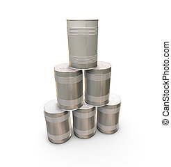 Stack of tin cans - 3D render of a stack of tin cans