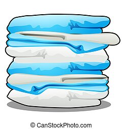 Stack of towels isolated on a white background. Vector cartoon close-up illustration.