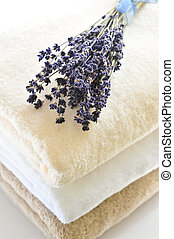 Stack of towels - Stack of soft towels isolated on white...