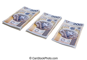 Stack of two hundred Polish zloty banknotes isolated on white background