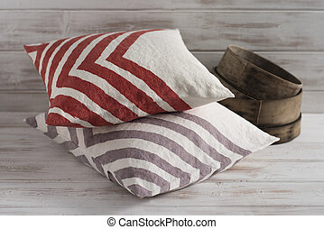 Stack of Two Throw Pillows with Chevron Design - A square ...