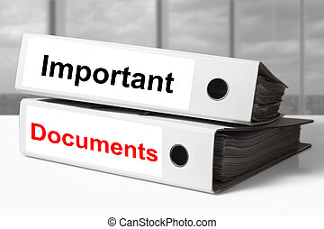 office binders important documents - stack of two white...