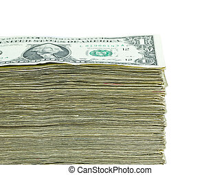 Stack of United States currency background - one dollar bills