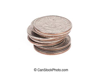 Stack of US coins isolated on white background