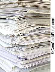 stack of used papers for recycling