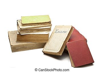 stack of vintage books, isolated on white background