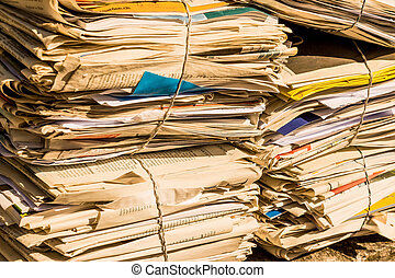 stack of waste paper. old newspapers - a stack of old ...