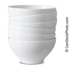 stack of white bowl isolated on white with clipping path