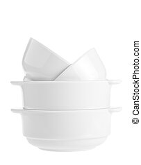 Stack of white bowls isolated on white background