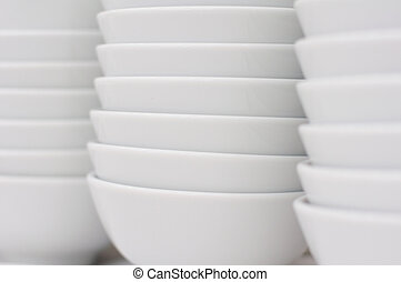 Stack of white bowls