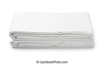 Stack of white folded bedding sheets isolated on white