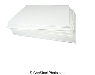 stack of white paper isolated over white background