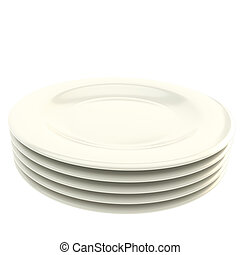 Stack of white plate dishes isolated on white