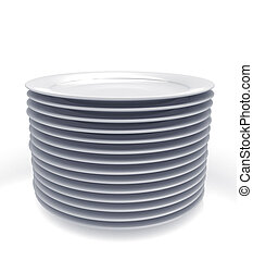 Stack of white plates isolated on white background