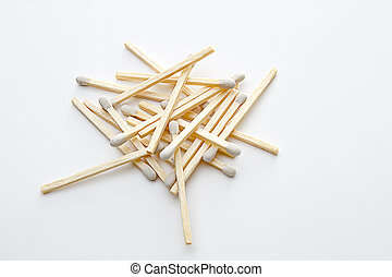 Stack of white tip matches