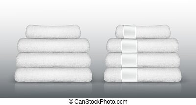 Stack of white towels. Vector illustration