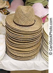 Stack of wicker hats