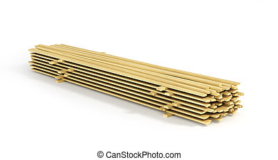 Stack of wood boards isolated on a white background. 3d illustration