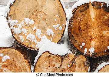 Stack of wood cut with snow