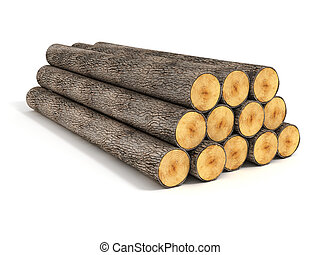 stack of wood logs on white - 3d illustration of stack of...