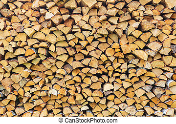 Stack of wood ready for the fireplace