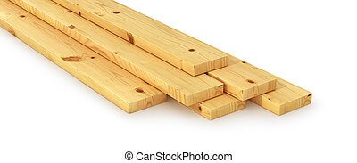 Stack of wooden bars. 3d illustration