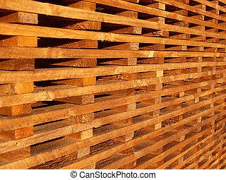 stack of wooden battens at builders merchant