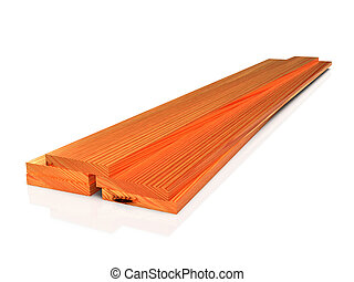 Stack of wooden boards on white floor, isolated. 3D rendering
