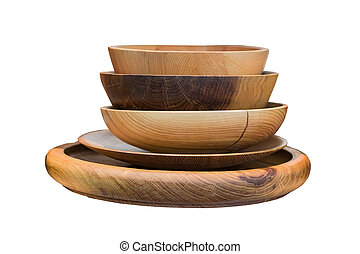 Stack of wooden bowls isolated on white background.