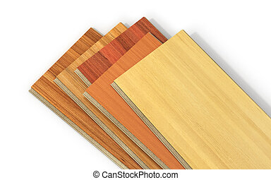 Stack of wooden laminate parquet on a white background, 3d...