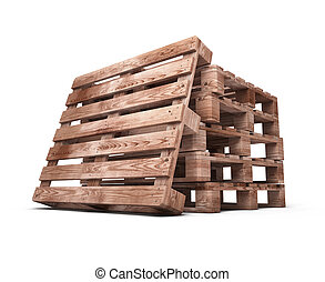 Stack of wooden pallets close-up isolated on white...