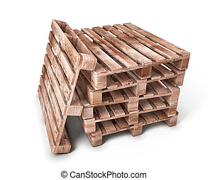 Stack of wooden pallets isolated on white