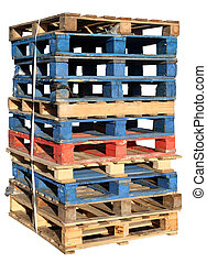 Stack of wooden pallets isolated on white.