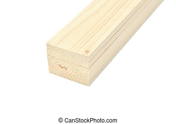 Stack of wooden plank on white background