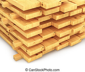 stack of wooden planks. 3D illustration