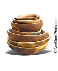 stack of wooden plates dishware isolated over white