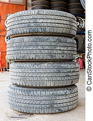 Stack of worn out rubber tire