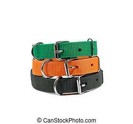 Stack pet collars on isolated white background