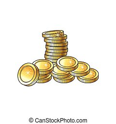 Stack, pile, heap of shiny gold coins