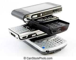 Stack Pile of Several Modern Cellphones