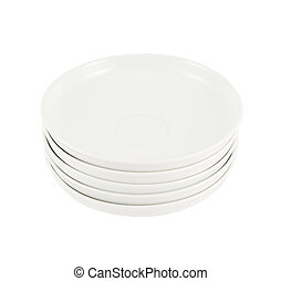 Stack pile of white ceramic plate dishes - Stack pile of...