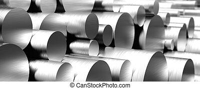 stack, rostfri, stänger, stål